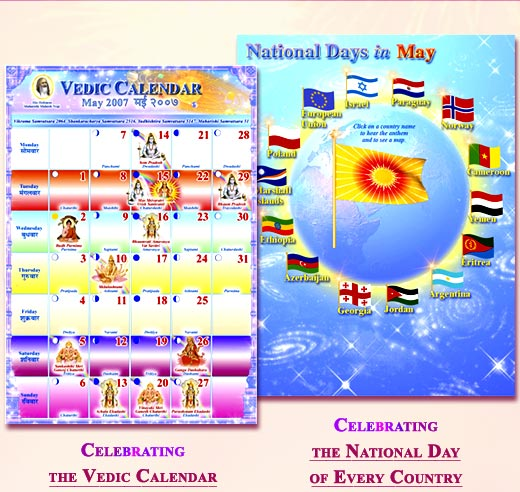 Graphic of the Vedic Calendar on the left and the National Days Calendar on the right